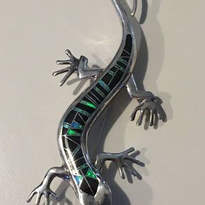 Jewelry - 925 Silver and Opal Lizard Pin
